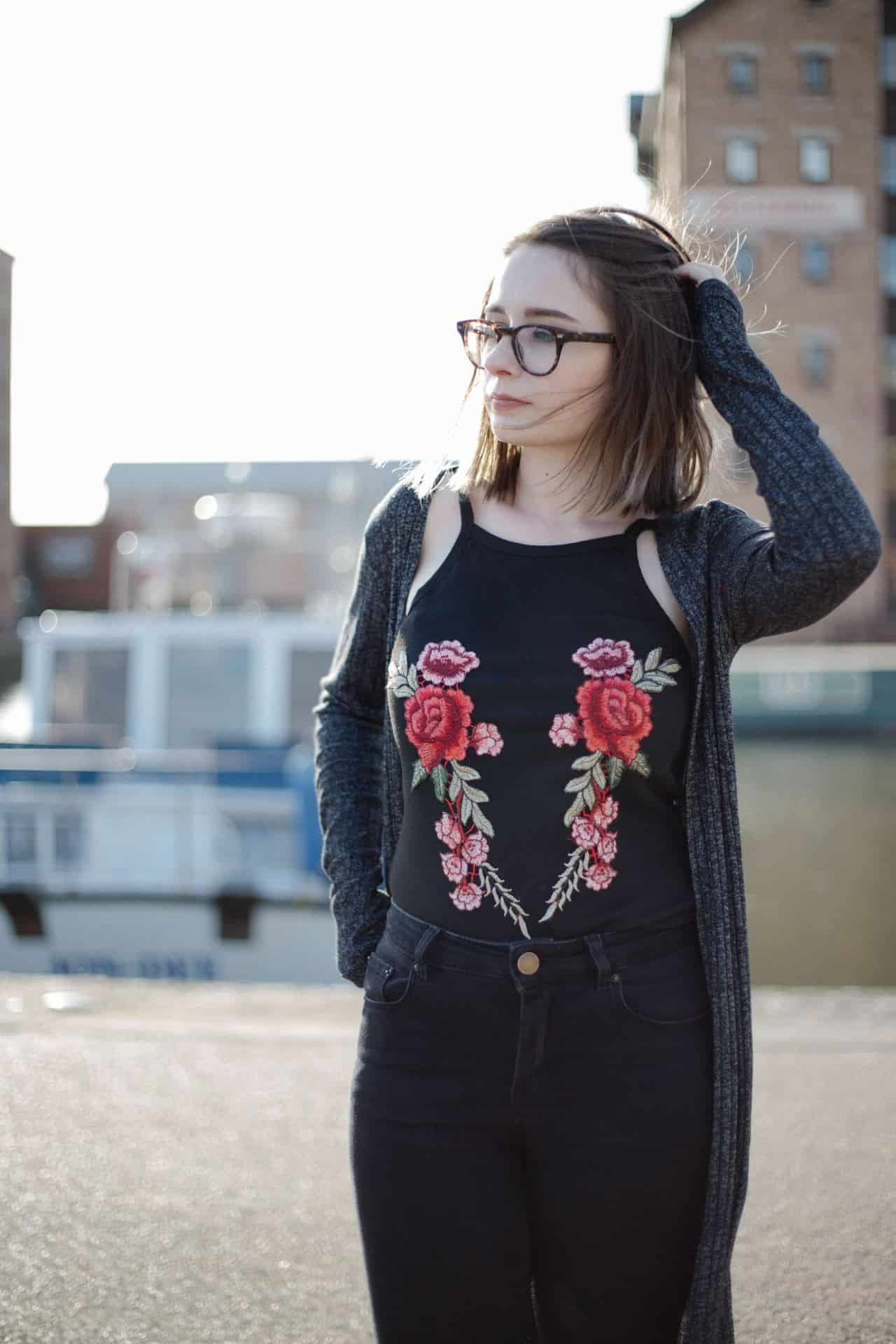 embroidered halter top outfit