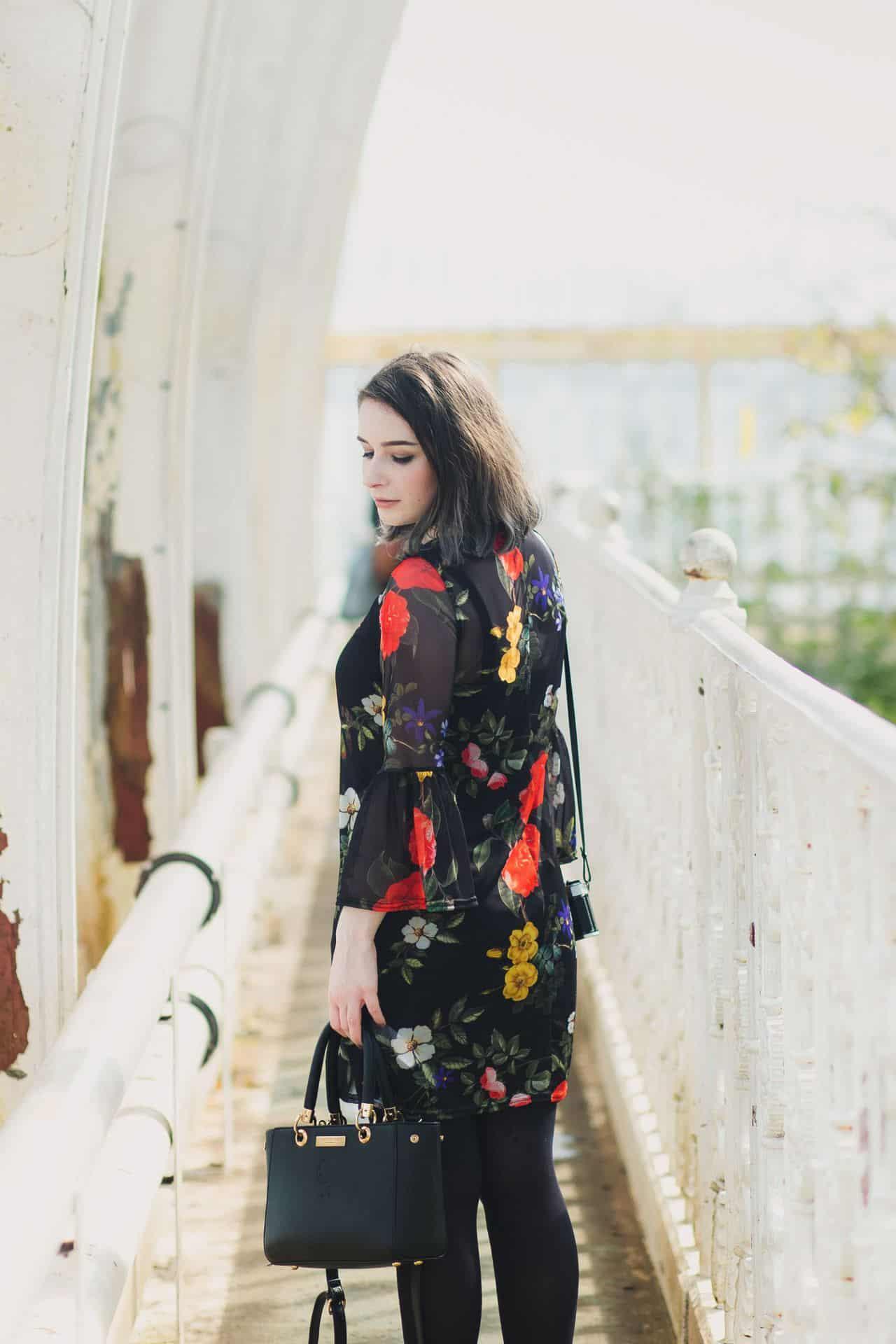asos boohoo floral mesh dress