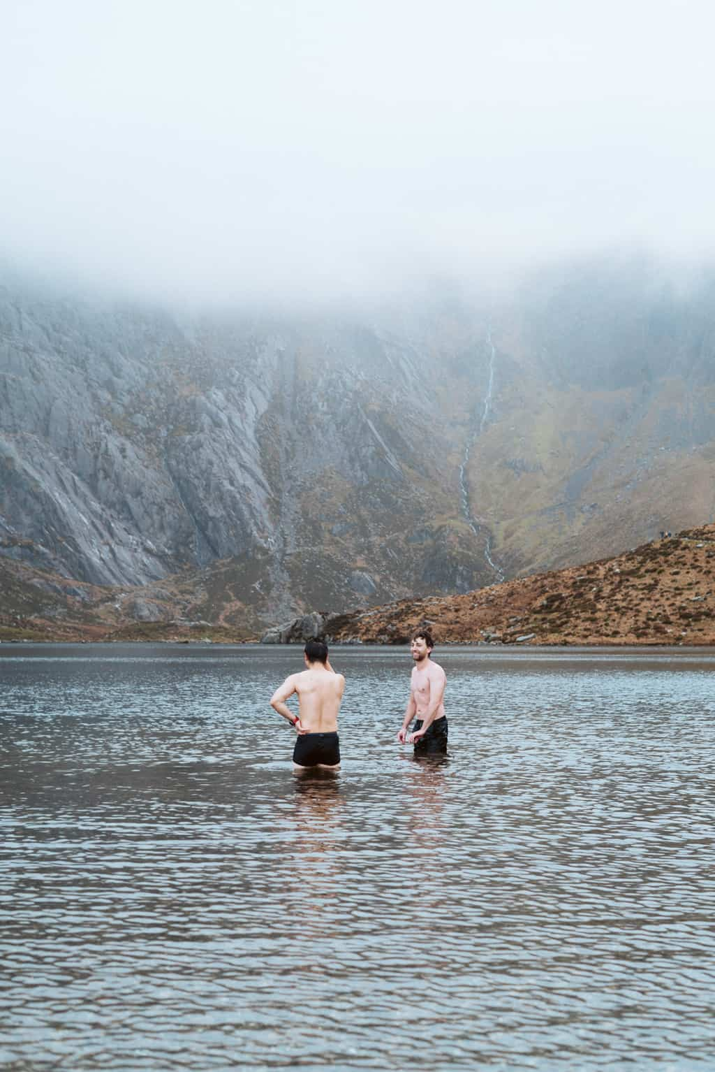swimming in llyn idwal in snowdonia national park
